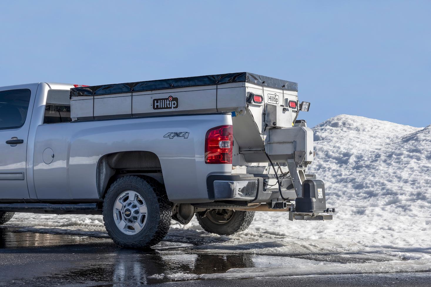 Hilltip salt spreader pickup truck